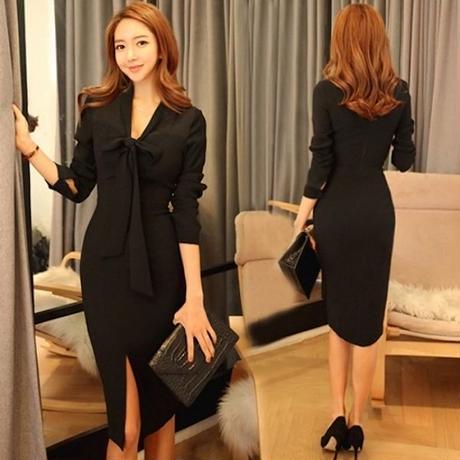 ブラックドレス 韓国ワンピース リボンタイ 可愛い シンプル スリム FS100401