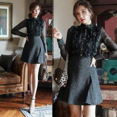 セットアップ お嬢様ドレス 胸元フリル 可愛い お呼ばれ パーティー 食事会 FS101401