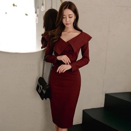 パーティードレス 韓国ワンピース スリム ワインレッド Vネック 個性的 デコルテ 可愛い FS094101