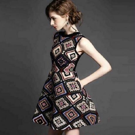 エスニック柄 ワンピース ノースリーブ パーティー ドレス フレア コーデ FS005001