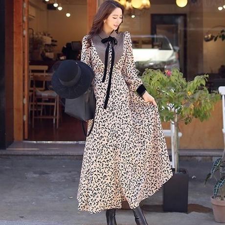 マキシワンピース 韓国ワンピース ボタニカル柄 ロング丈 リボンタイ 襟周り 可愛い FS096101