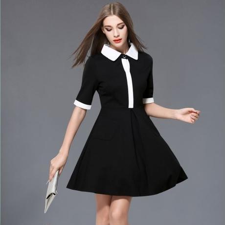 韓国ワンピース 黒 白 ブラック ホワイト モノトーン 襟付きワンピ  大人女子 FS009201