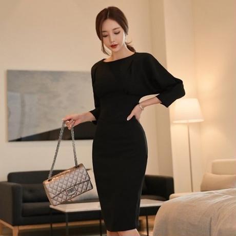 シンプル 無地 黒ドレス 韓国ワンピース フォーマル 冠婚葬祭 お呼ばれシーン FS087801