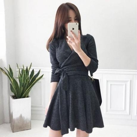 秋冬 ニットワンピース 韓国ワンピース カシュクールデザイン 可愛い 暖かい FS101201