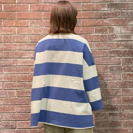 七分袖ボートネックビッグボーダーシャツ
