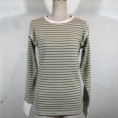 ワッフルマルチボーダークルーネックTシャツ