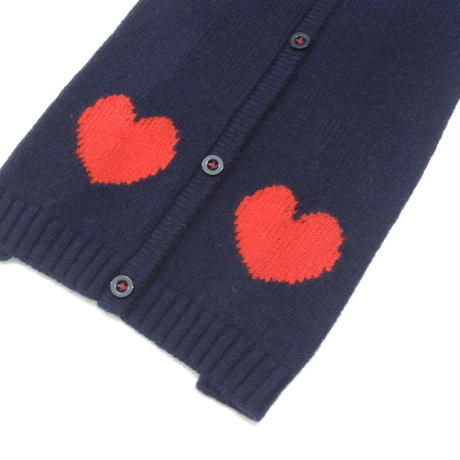 Ware Of The Dog HEART CARDIGAN NAVY/RED
