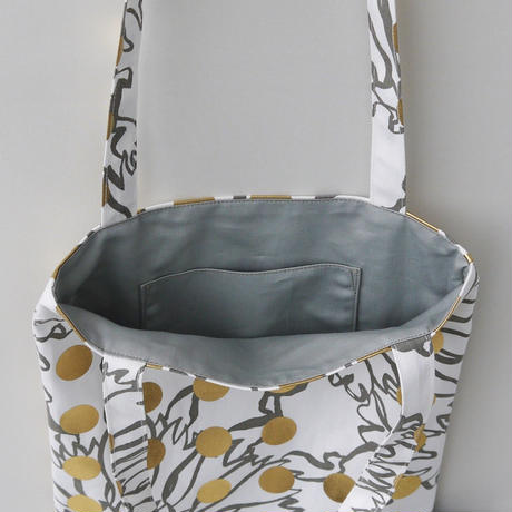 LC  TOTE  -BUBBLE FLOWOR -(GOLD)