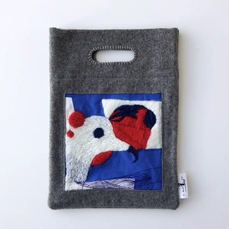 BAG_刺繍フェルトバッグ  -MAGIC BIRD- (BLUE)