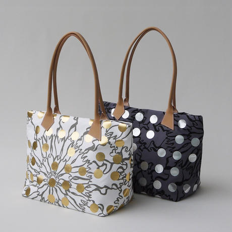 LEATHER  HANDLE  TOTE -BUBBLE FLOWER- (GOLD)