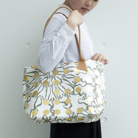 BAG_レザーハンドルトート -BUBBLE FLOWER- (GOLD)