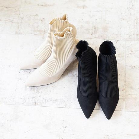 リブ付き靴下風パンプス   sh0004