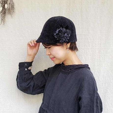 Web限定色【クリップ付き】ふゆのベロアハット*Black(ブラック)