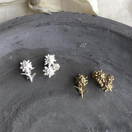 [8月誕生花×誕生石]エーデルワイスのシルバーイヤリング* Silver