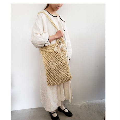 【Lilaf限定*】ラフィア素材の編み上げショルダーバッグ*  Beige