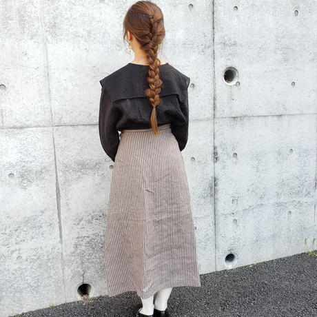 [etoffe et soeur]数量限定*ストライプロングスカート*Gray
