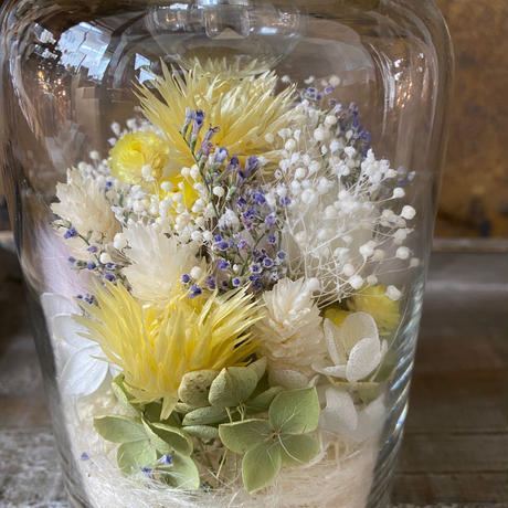 【Lilaf限定1点*】アジサイ入り flower bottle light (ボトルライト) Small*Yellow