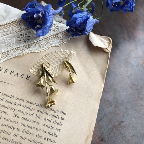 [7月誕生花×誕生石]ヒメシャジンの真鍮イヤリング* Gold