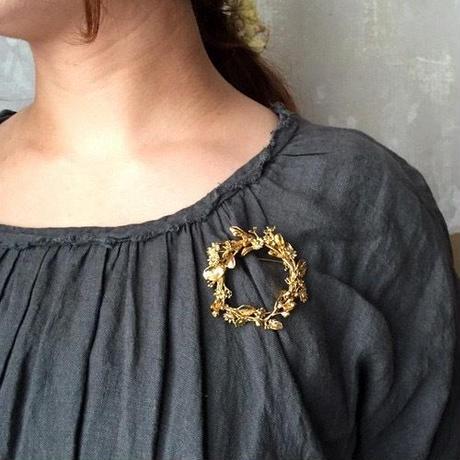 m.soeur ユーカリのリースブローチ* Gold(真鍮)