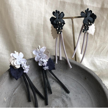 お花のバイカラーピアス/イヤリング* 2color
