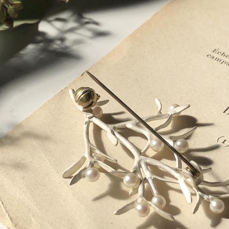 枝とパールの実ブローチ* Silver