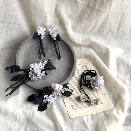 お花のバイカラーリボンとポニーフックset * 2color