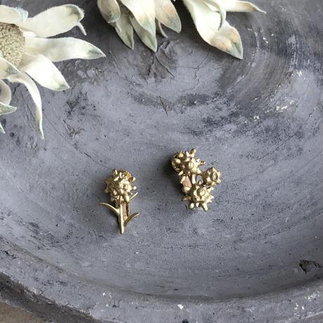 [8月誕生花×誕生石]エーデルワイスの真鍮イヤリング* Gold