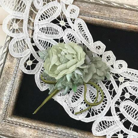 ベルベットリボンとお花のクラシカルクリップ*