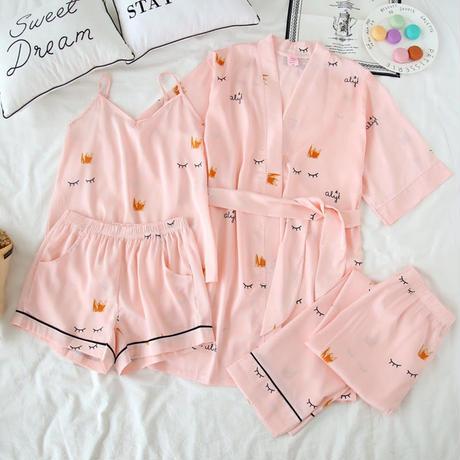 まつげちゃんパジャマ4点セット ルームウェア 部屋着 シルク風パジャマ