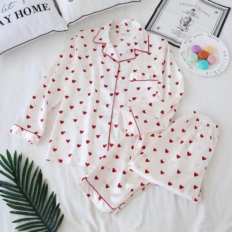 ハートパジャマ 赤いハート ルームウェア 部屋着 パジャマ女子会にも♪