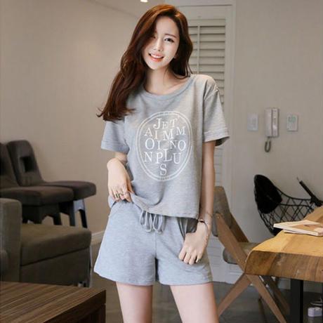 ルームウェア セットアップロゴTシャツ&ショートパンツ 部屋着 3色