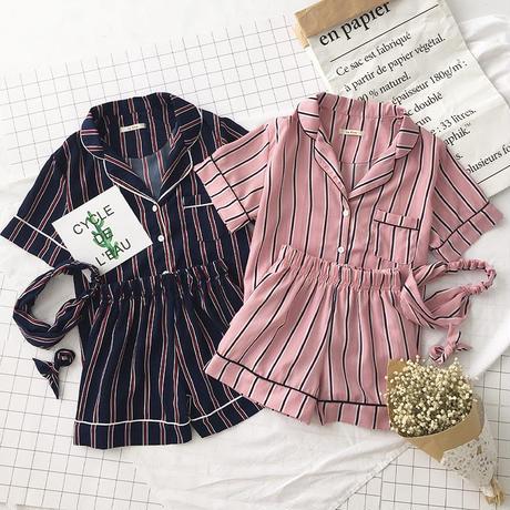 ストライプパジャマ 半袖シャツ&ショーパン&ヘアバンド 部屋着 ルームウェア 全2色