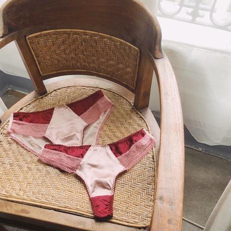 Bicolor Silk Wine Red Bikini