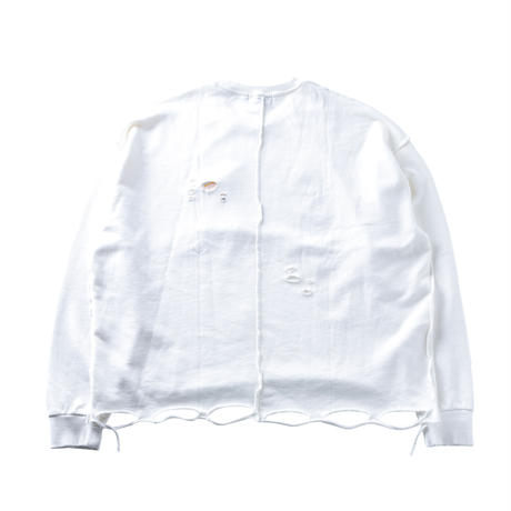 """CHARLIE"" DAMAGED WIDE SWEAT (WHT)"