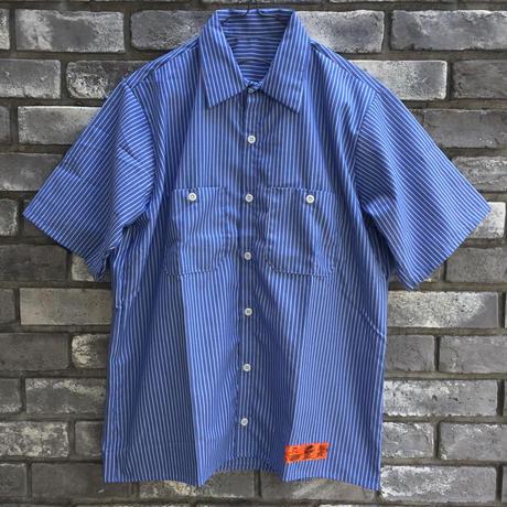 【RED KAP】 Industrial Stripe Work Shirts Sax レッドキャップ インダストリアル ストライプ ワークヘム シャツ