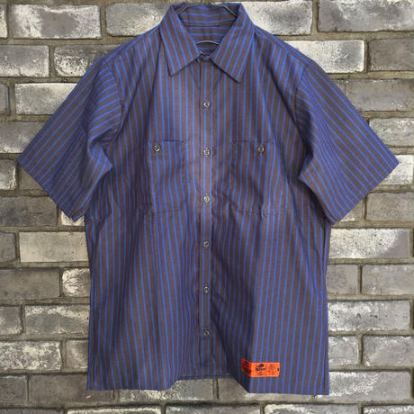【RED KAP】 Industrial Stripe Work Shirts Blue レッドキャップ インダストリアル ストライプ ワークヘム シャツ