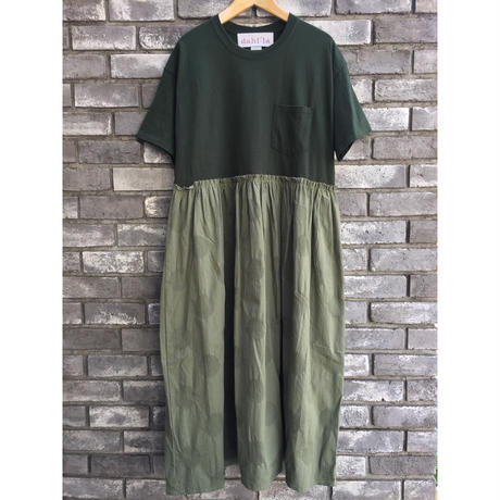 【dahl'ia】 Re-make Long one-piece Olive ダリア リメイク ワンピース