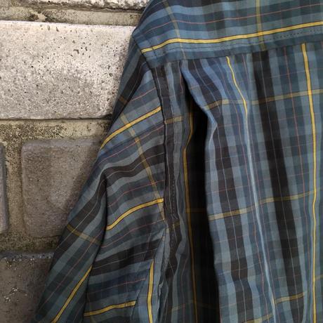 【Breechez】 Check Poplin Pleats Over Shirt Green ブリーチーズ チェック プリーツ シャツ