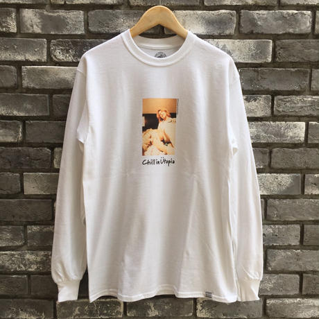 "【COMMON EDUCATION】 ""Chill in Utopia"" LS Tee White Kenji Kubo"