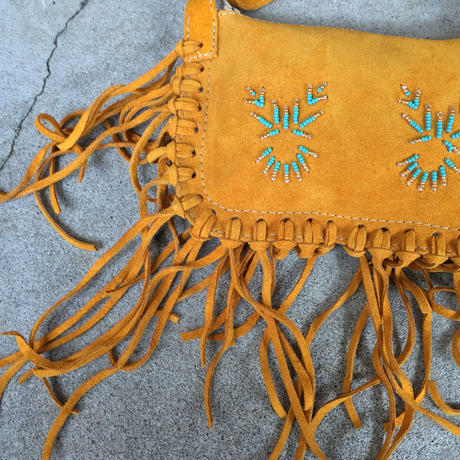 【BASTIEN INDUSTRIES】 Leather Fringe Beads Hand Bag レザー フリンジ ビーズ バッグ