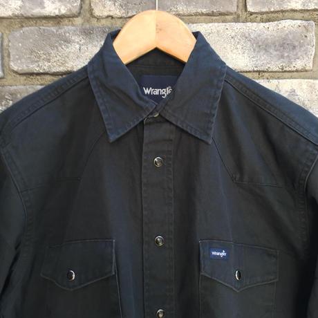 【Wrangler】Basics Twill Shirts Vintage Wash Black ラングラー ツイル シャツ