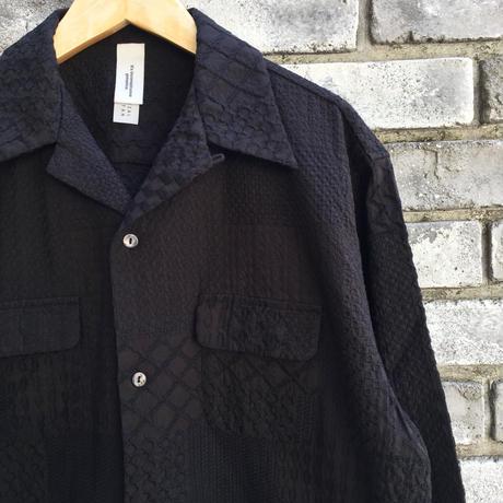 【niche.】 Crazy Lace Open Collar Shirts Black レース オープンカラーシャツ ニッチ
