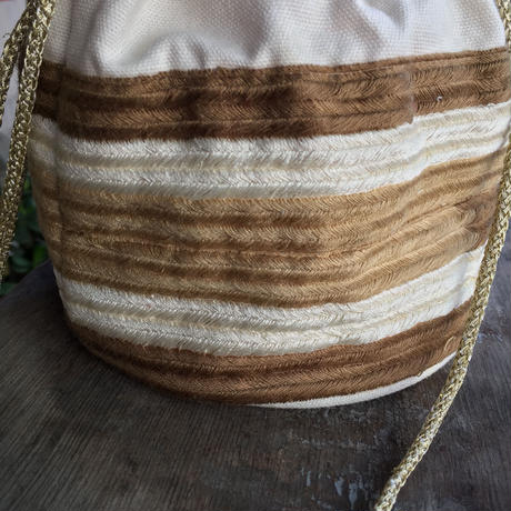 【DIR 69】 Multi Colored Stripe Embroidered Drawstring Bag Beige