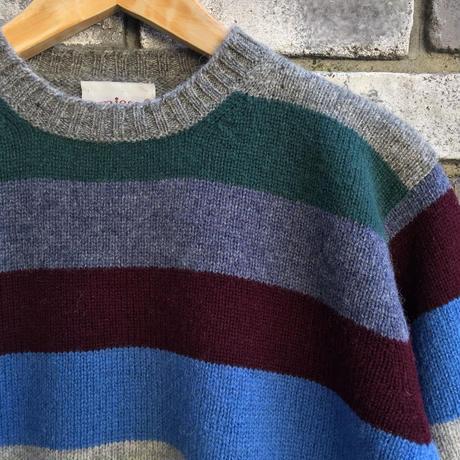 【Jamieson's】Crew Neck  Sweater Border Blue ジャミーソンズ クルーネック セーター ボーダー ニット