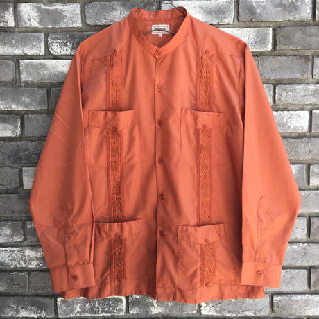 【MY CUBAN STORE】 BandCollar Long Sleeve Shirt マイ キューバン ストア バンドカラー キューバシャツ