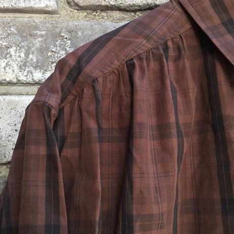 【Breechez】 Check Poplin Pleats Over Shirt Brown ブリーチーズ チェック プリーツ シャツ