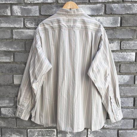 【Breechez】 Multi Stripe Gather Over Shirts Beige ブリーチズ マルチストライプ ギャザー シャツ