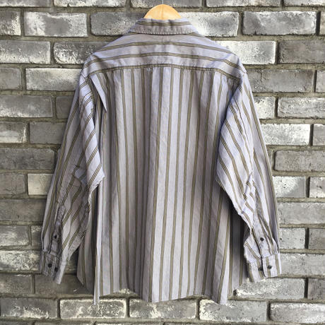 【Breechez】Multi Stripe Gather Over Shirts Grey ブリーチズ マルチストライプ ギャザー シャツ