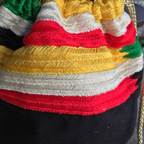【DIR 69】 Multi Colored Stripe Embroidered Drawstring Bag Black