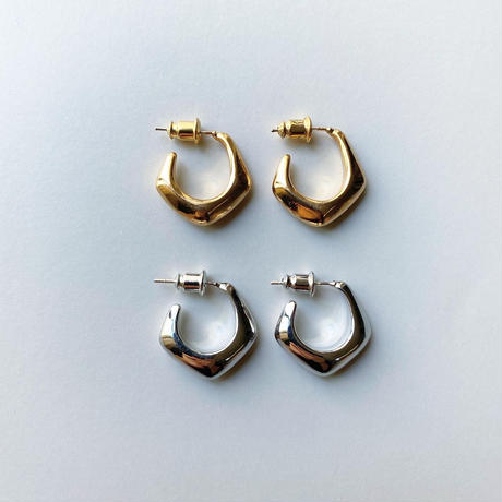 metal polygon hoop pierce   (silver925 stud)